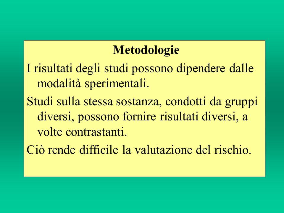 Metodologie I risultati degli studi possono dipendere dalle modalità sperimentali.