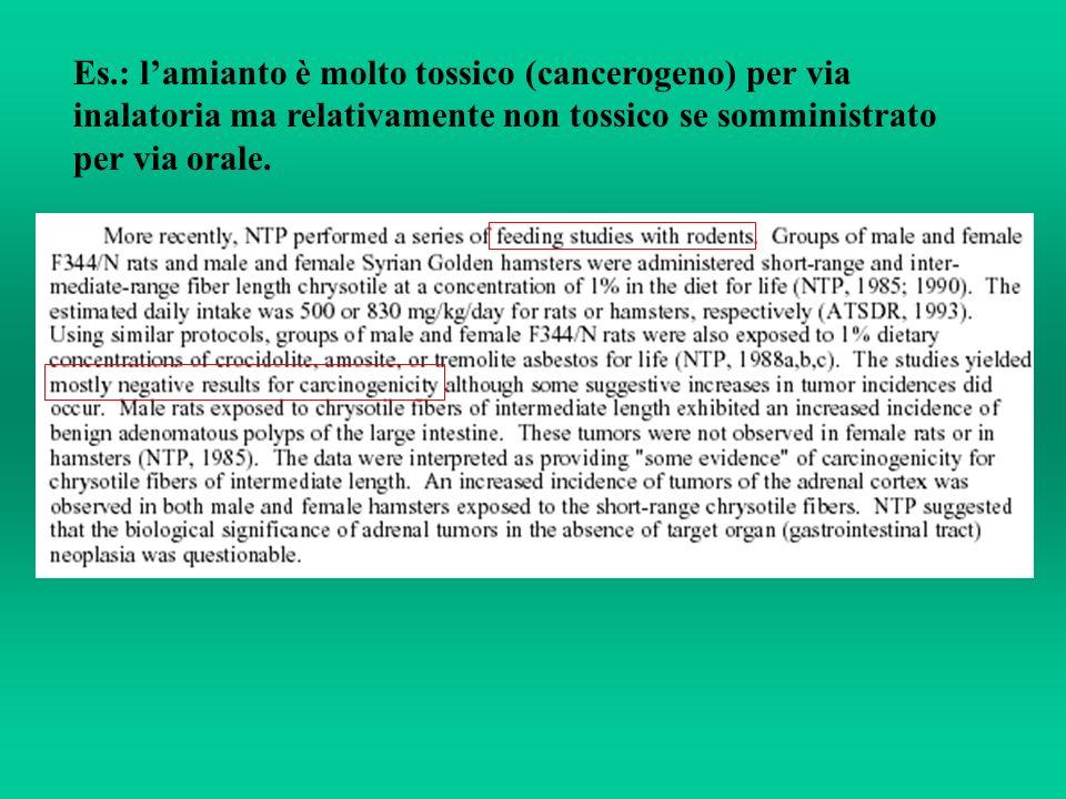 Es.: l'amianto è molto tossico (cancerogeno) per via inalatoria ma relativamente non tossico se somministrato per via orale.