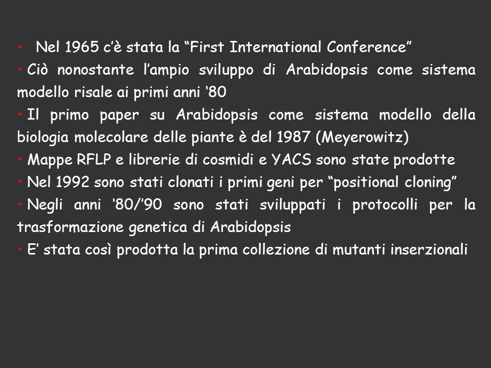 Nel 1965 c'è stata la First International Conference