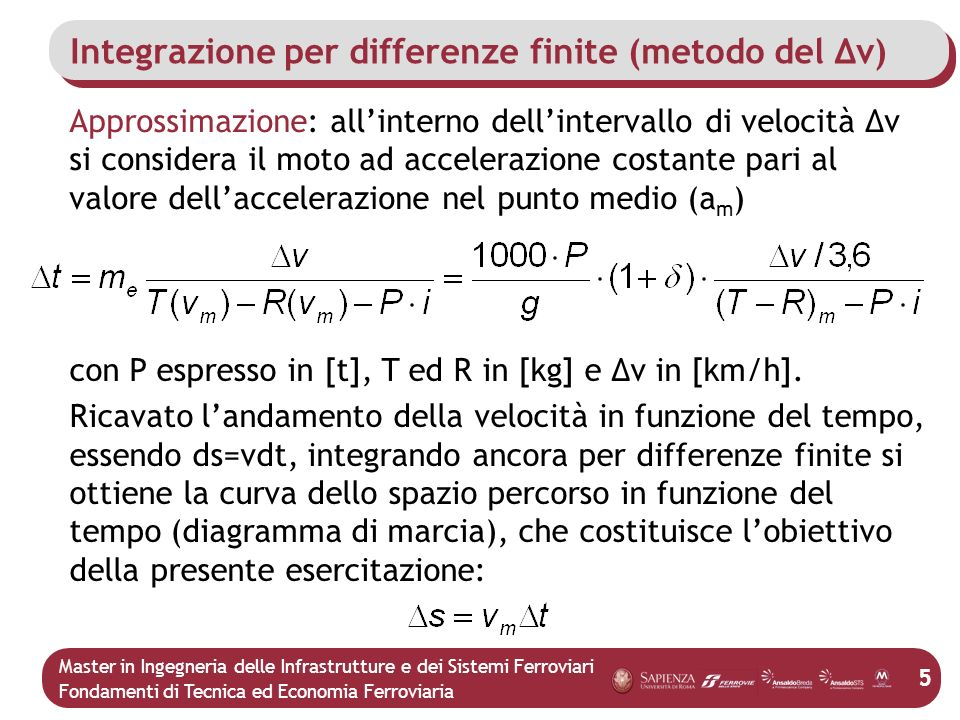 Integrazione per differenze finite (metodo del Δv)