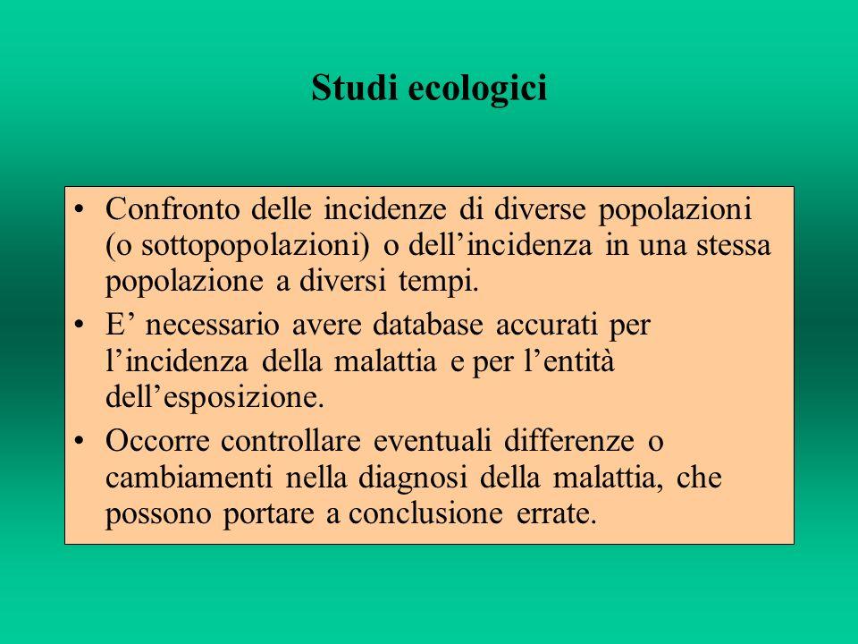 Studi ecologici Confronto delle incidenze di diverse popolazioni (o sottopopolazioni) o dell'incidenza in una stessa popolazione a diversi tempi.