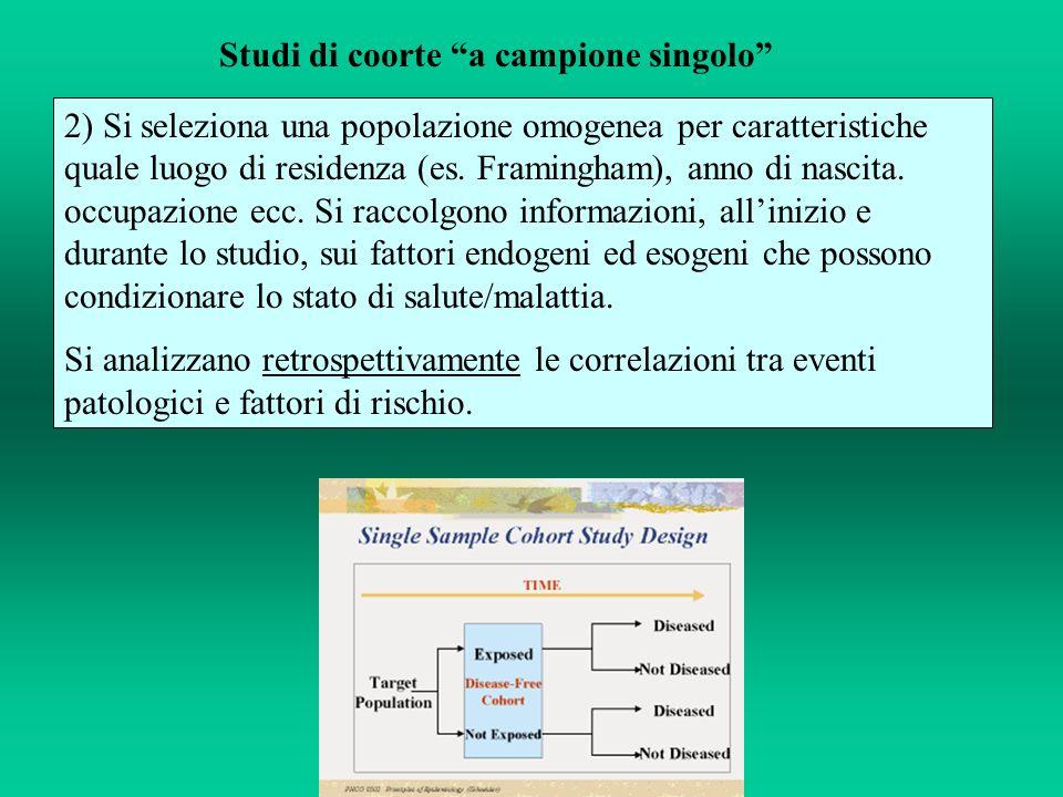 Studi di coorte a campione singolo