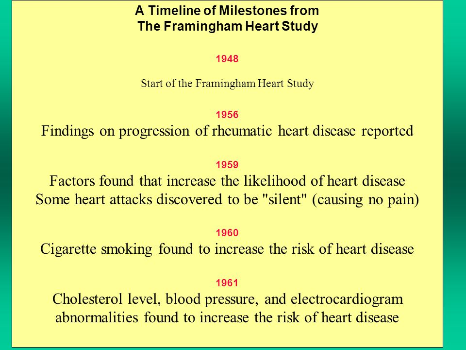 A Timeline of Milestones from The Framingham Heart Study 1948 Start of the Framingham Heart Study 1956 Findings on progression of rheumatic heart disease reported 1959 Factors found that increase the likelihood of heart disease Some heart attacks discovered to be silent (causing no pain) 1960 Cigarette smoking found to increase the risk of heart disease 1961 Cholesterol level, blood pressure, and electrocardiogram abnormalities found to increase the risk of heart disease