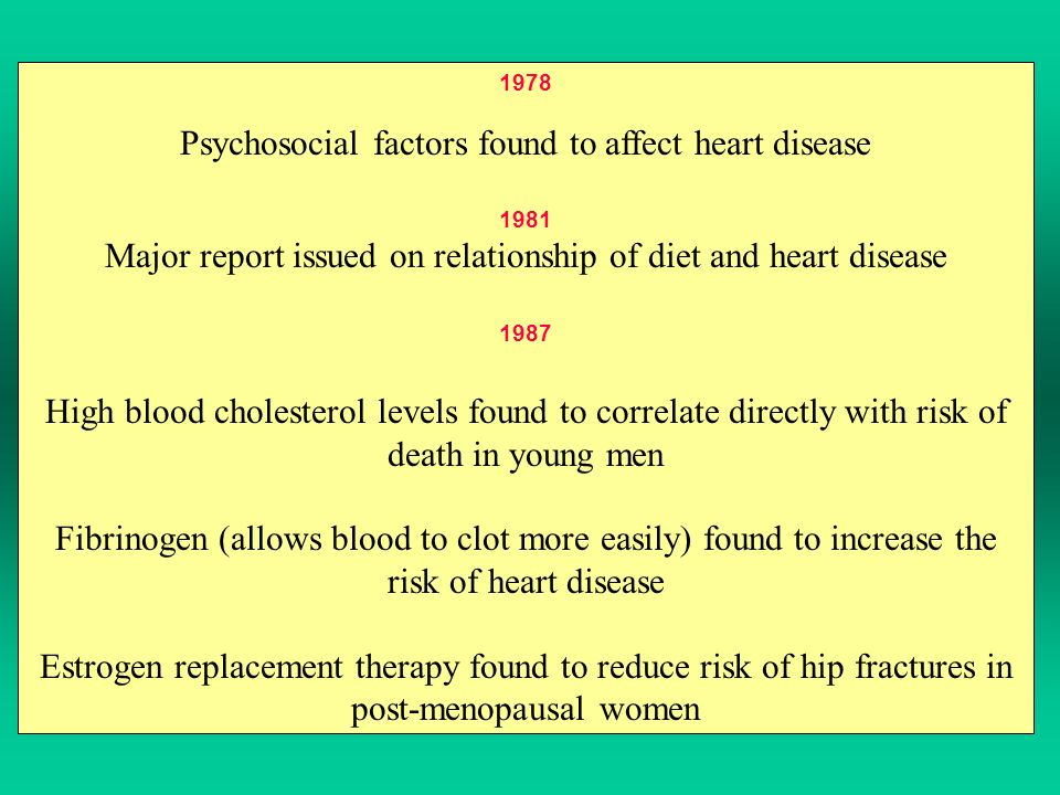 1978 Psychosocial factors found to affect heart disease 1981 Major report issued on relationship of diet and heart disease 1987 High blood cholesterol levels found to correlate directly with risk of death in young men Fibrinogen (allows blood to clot more easily) found to increase the risk of heart disease Estrogen replacement therapy found to reduce risk of hip fractures in post-menopausal women
