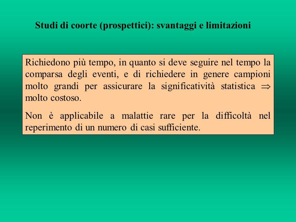 Studi di coorte (prospettici): svantaggi e limitazioni