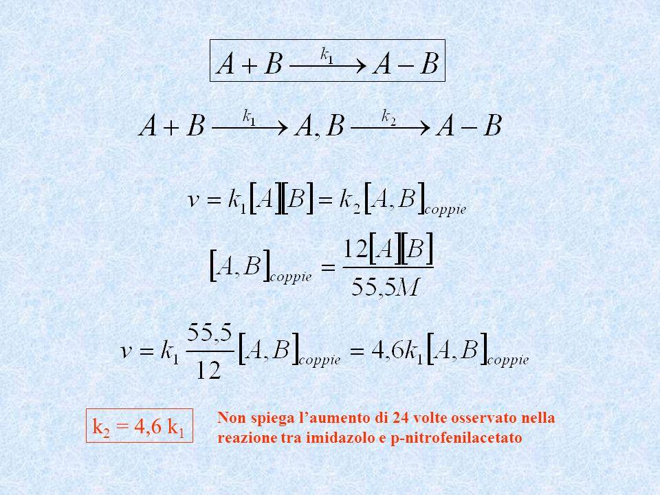 k2 = 4,6 k1 Non spiega l'aumento di 24 volte osservato nella