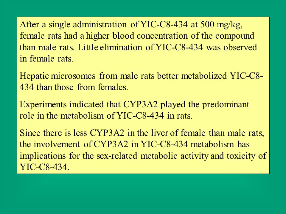 After a single administration of YIC-C8-434 at 500 mg/kg, female rats had a higher blood concentration of the compound than male rats. Little elimination of YIC-C8-434 was observed in female rats.