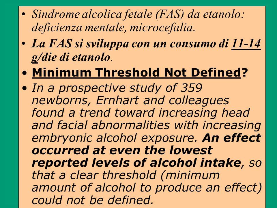 La FAS si sviluppa con un consumo di 11-14 g/die di etanolo.