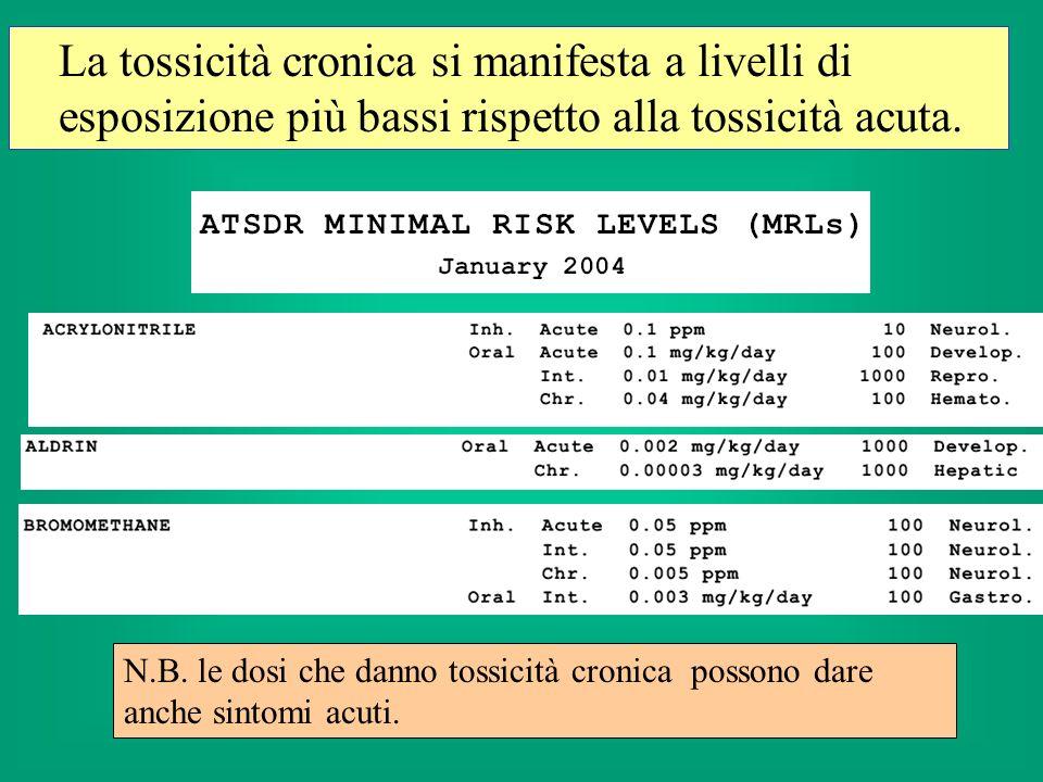 La tossicità cronica si manifesta a livelli di esposizione più bassi rispetto alla tossicità acuta.