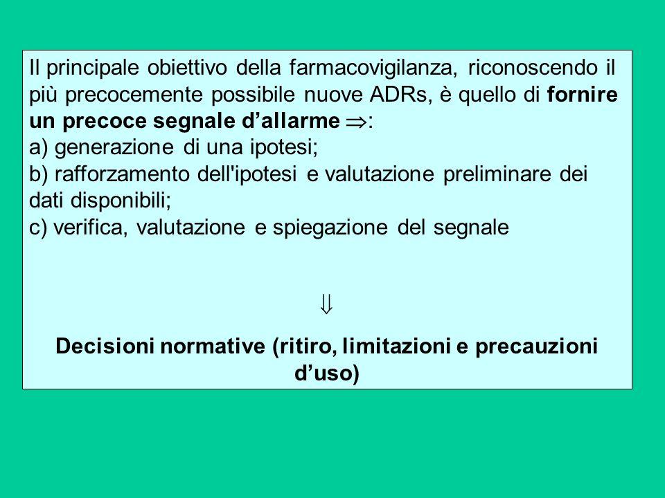 Decisioni normative (ritiro, limitazioni e precauzioni d'uso)