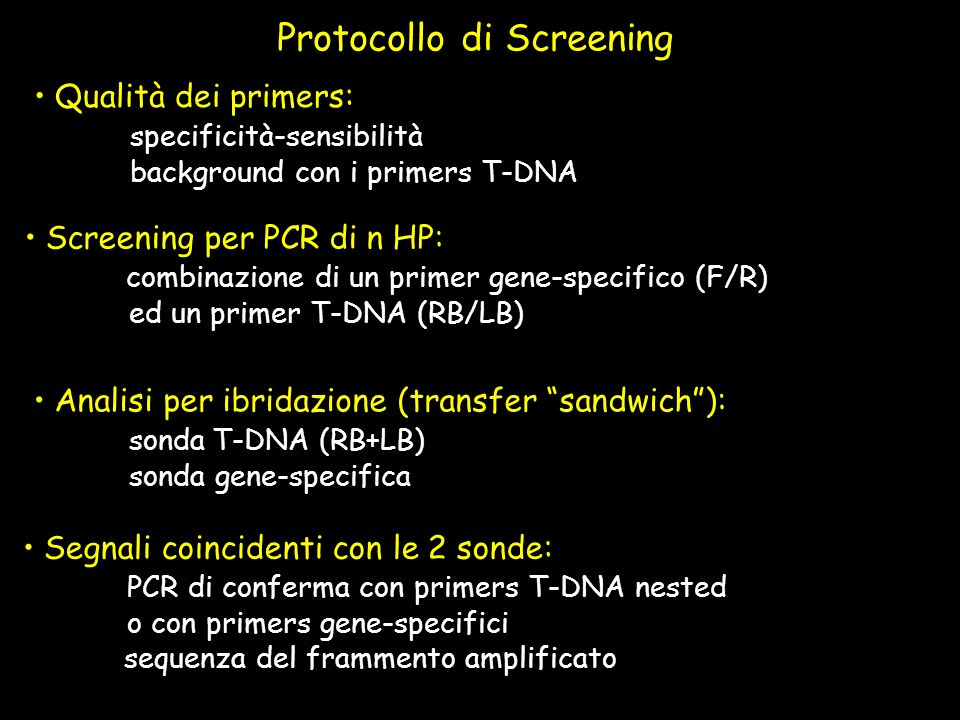 Protocollo di Screening