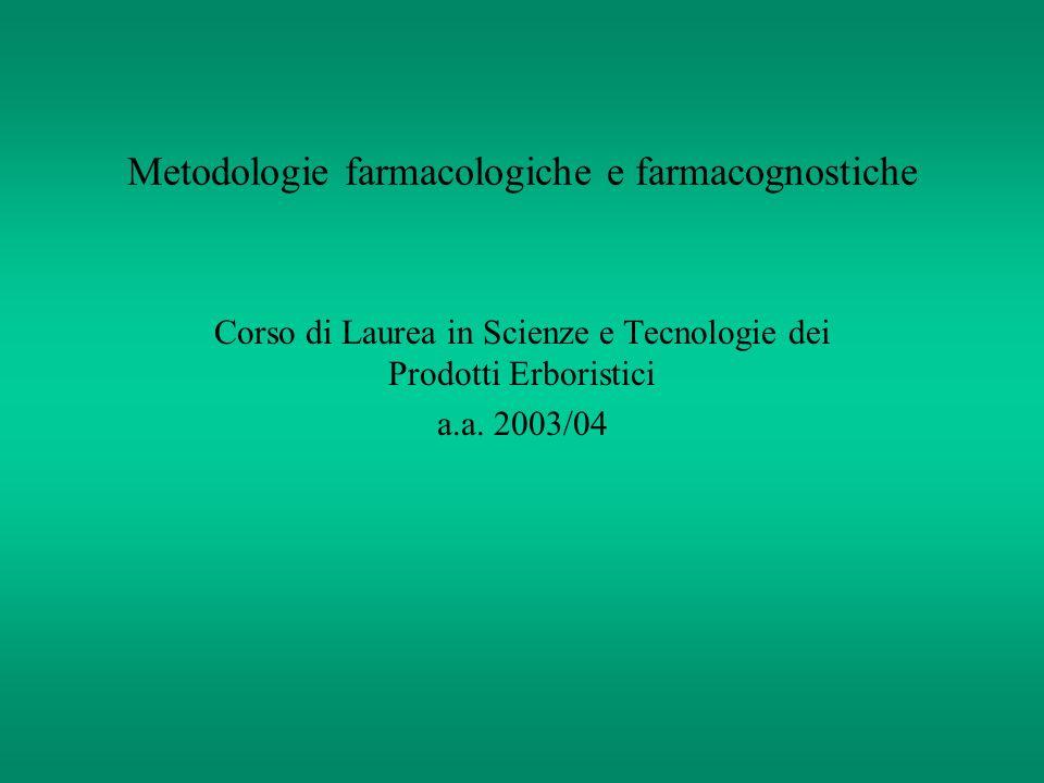 Metodologie farmacologiche e farmacognostiche