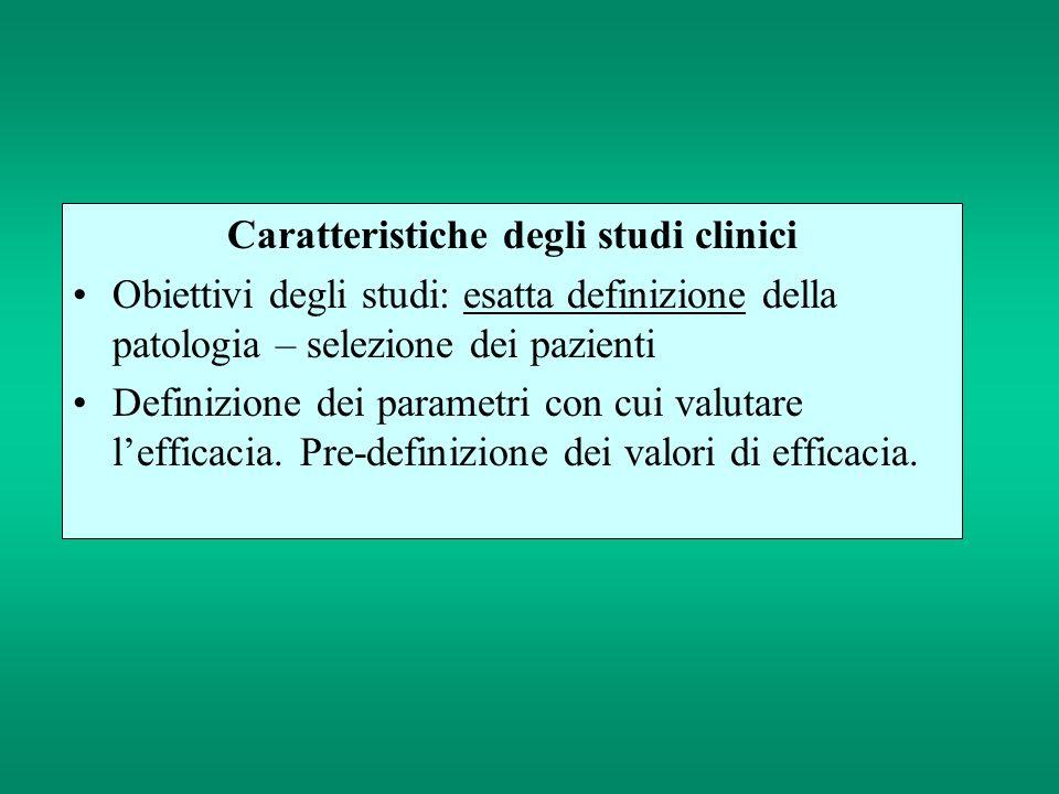 Caratteristiche degli studi clinici
