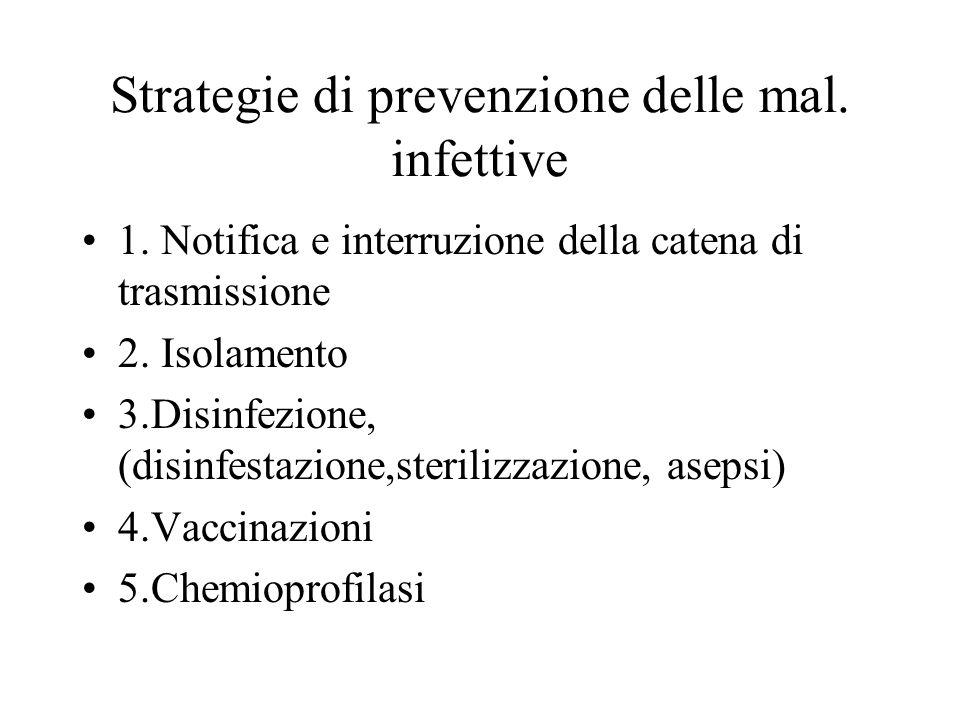 Strategie di prevenzione delle mal. infettive