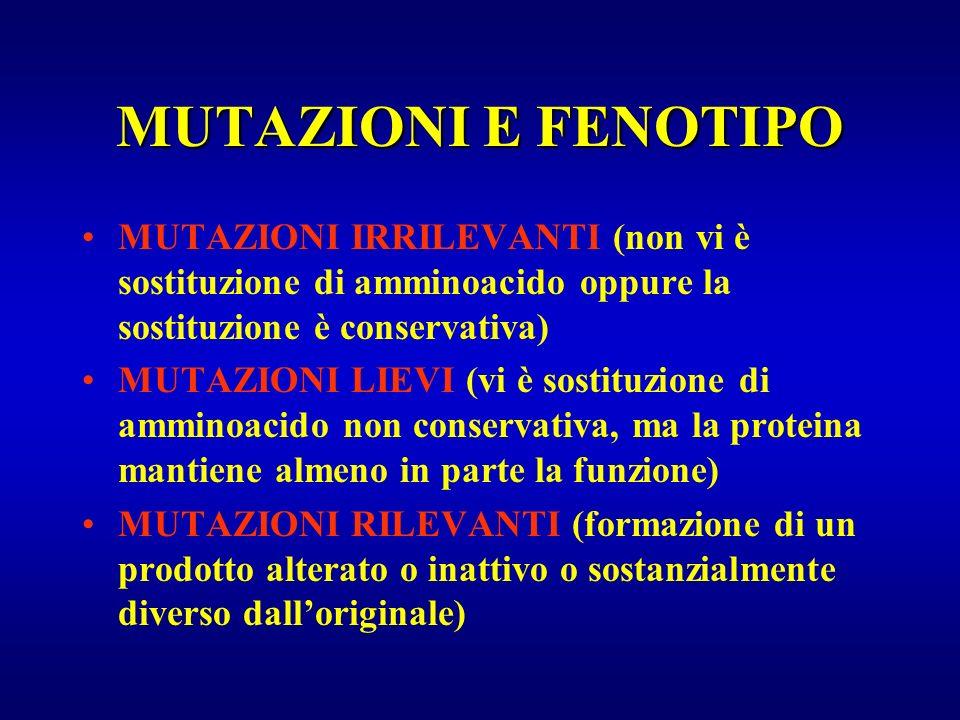 MUTAZIONI E FENOTIPO MUTAZIONI IRRILEVANTI (non vi è sostituzione di amminoacido oppure la sostituzione è conservativa)