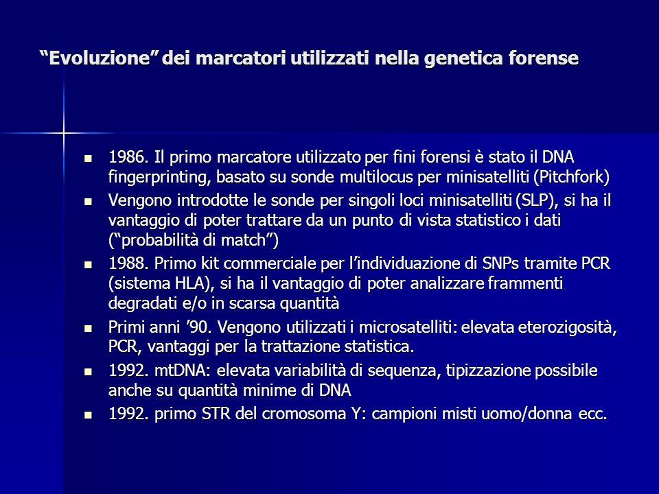 Evoluzione dei marcatori utilizzati nella genetica forense
