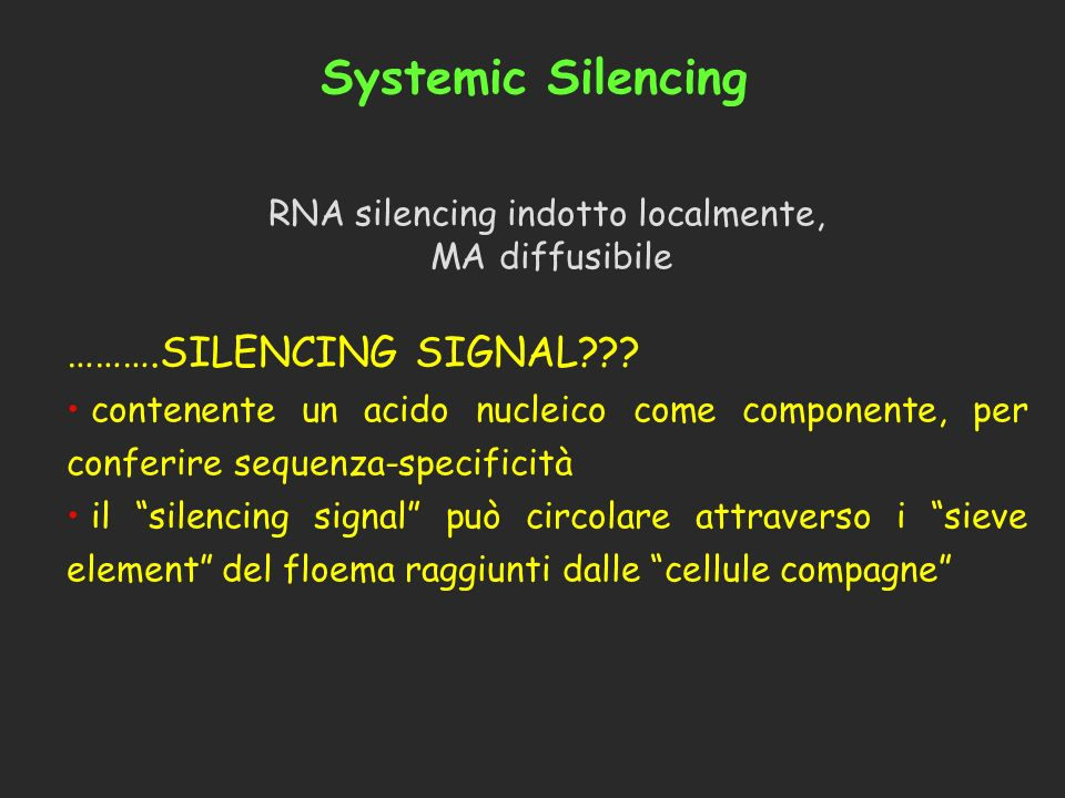 RNA silencing indotto localmente,