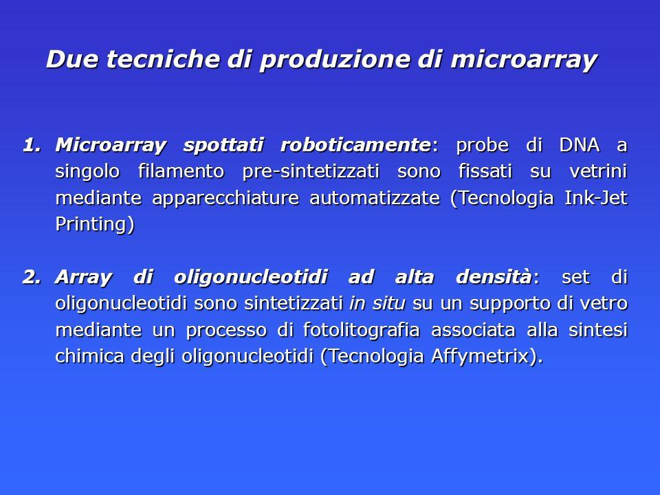 Due tecniche di produzione di microarray