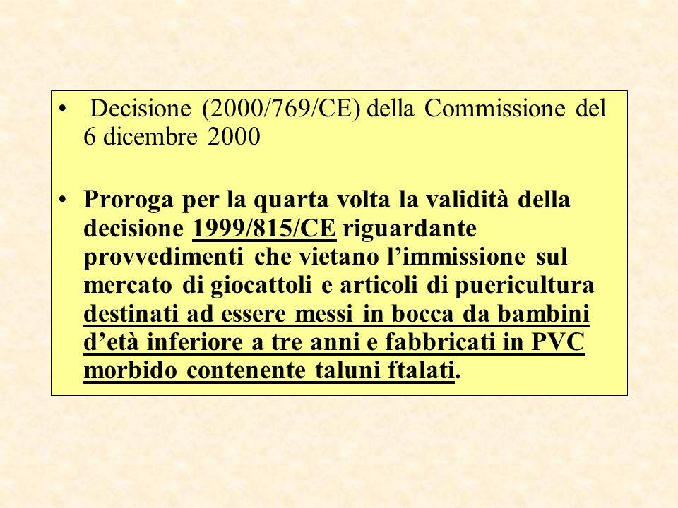 Decisione (2000/769/CE) della Commissione del 6 dicembre 2000