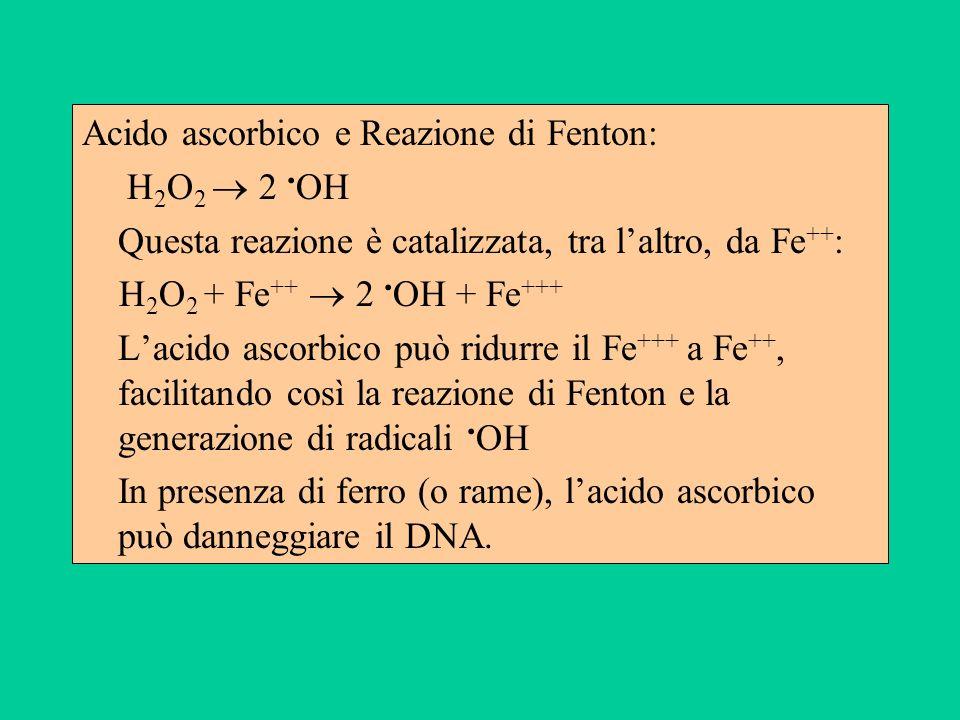 Acido ascorbico e Reazione di Fenton: