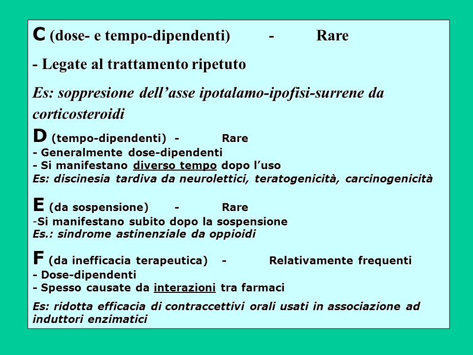 C (dose- e tempo-dipendenti) - Rare