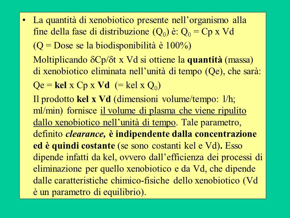 La quantità di xenobiotico presente nell'organismo alla fine della fase di distribuzione (Q0) è: Q0 = Cp x Vd