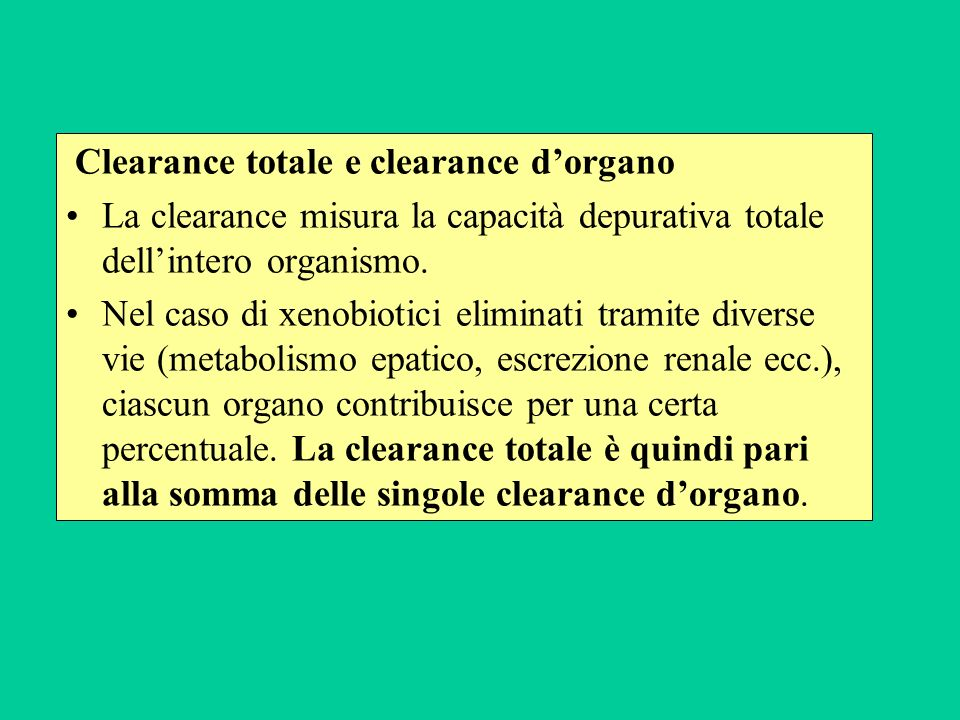 Clearance totale e clearance d'organo