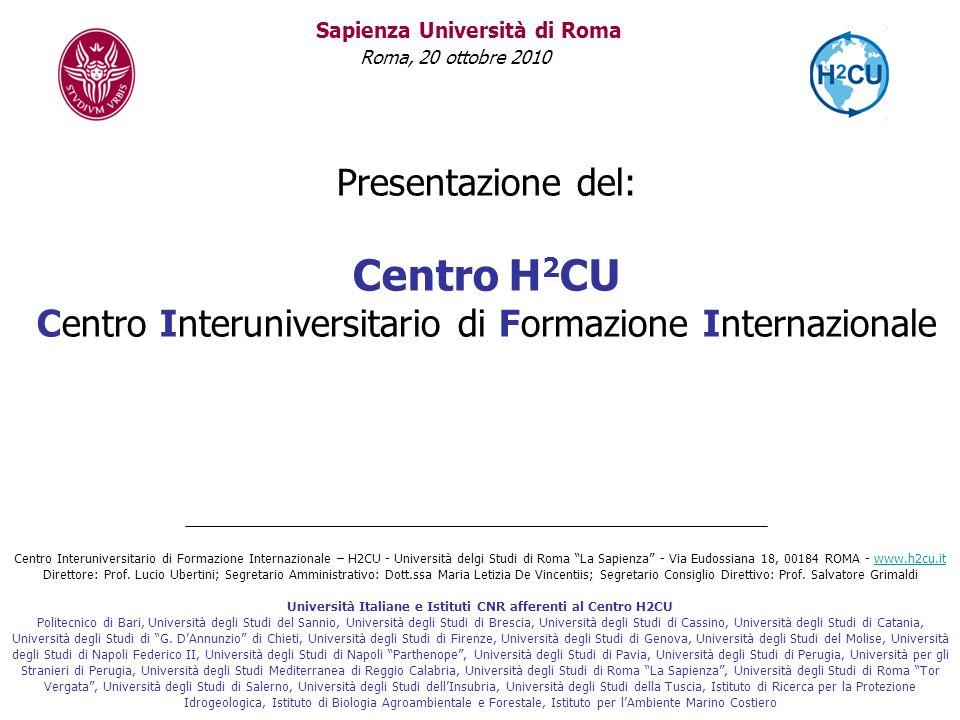 Università Italiane e Istituti CNR afferenti al Centro H2CU