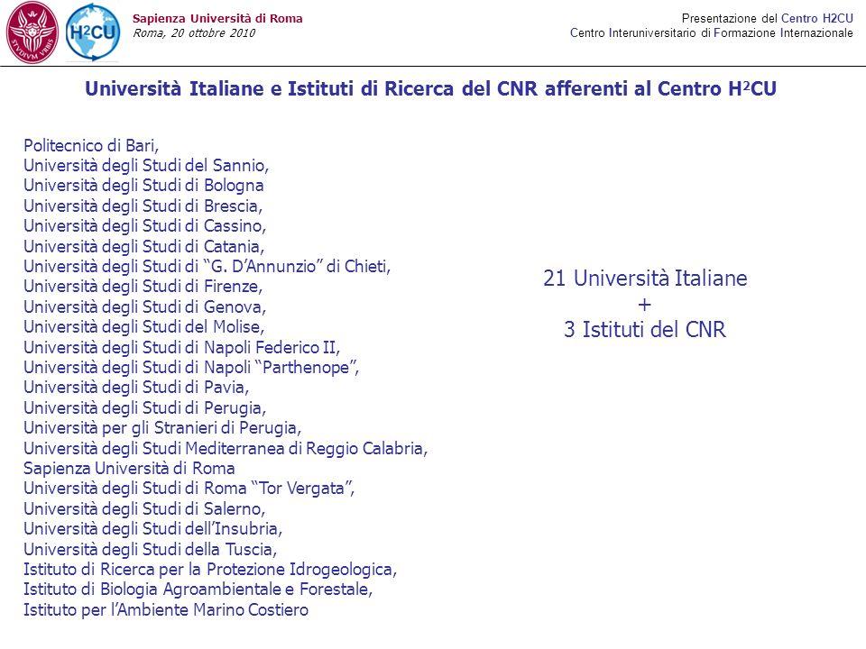 21 Università Italiane + 3 Istituti del CNR