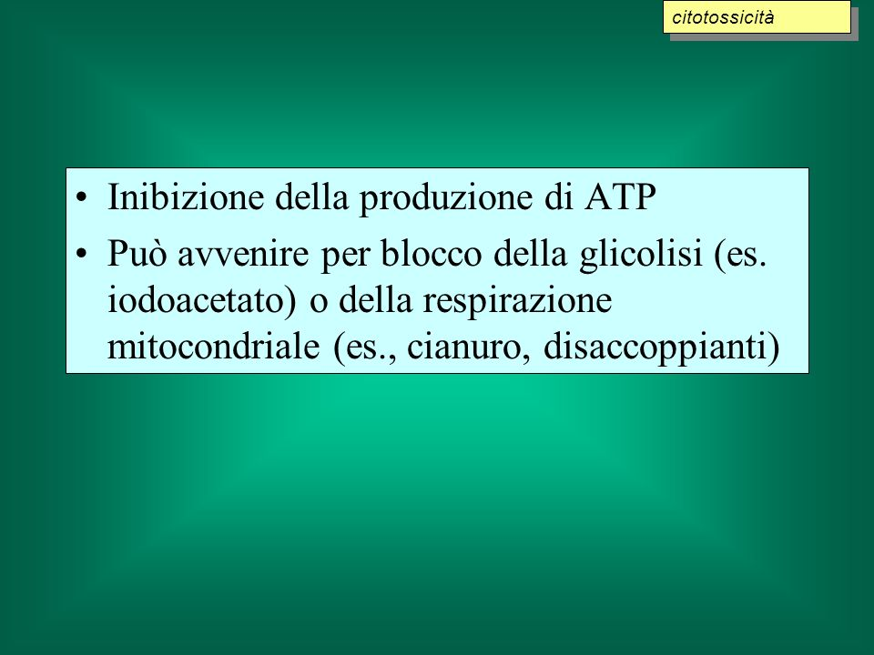 Inibizione della produzione di ATP