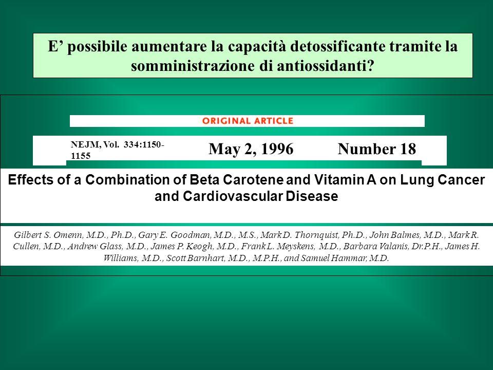 E' possibile aumentare la capacità detossificante tramite la somministrazione di antiossidanti