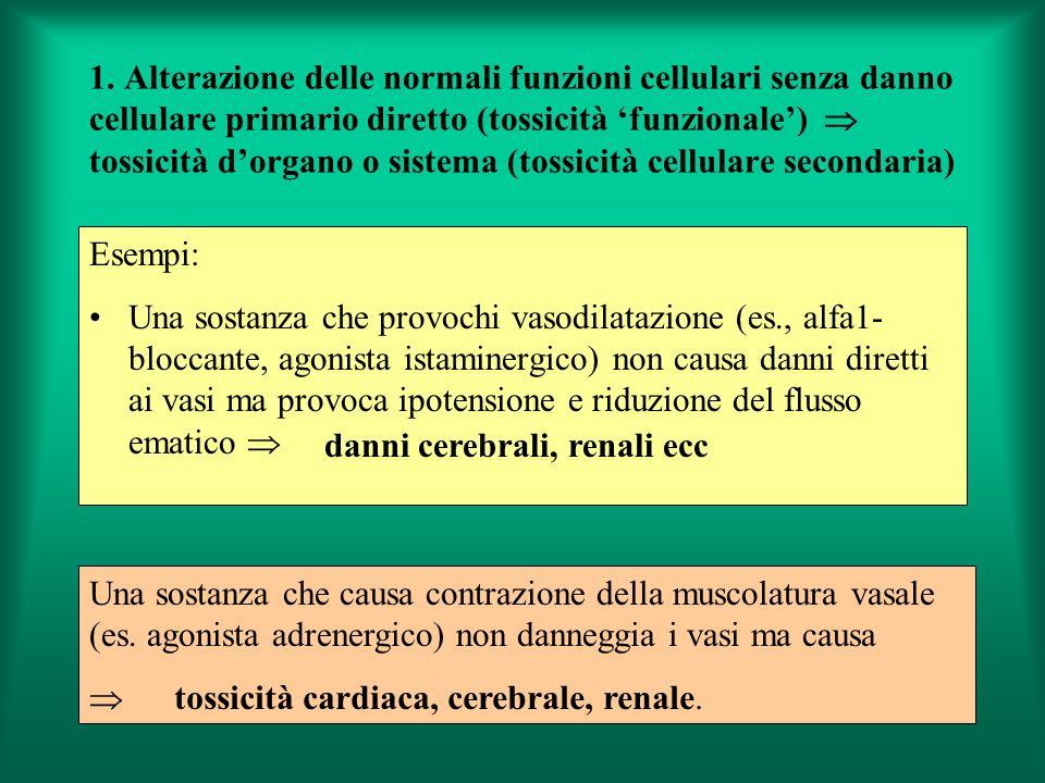1. Alterazione delle normali funzioni cellulari senza danno cellulare primario diretto (tossicità 'funzionale')  tossicità d'organo o sistema (tossicità cellulare secondaria)