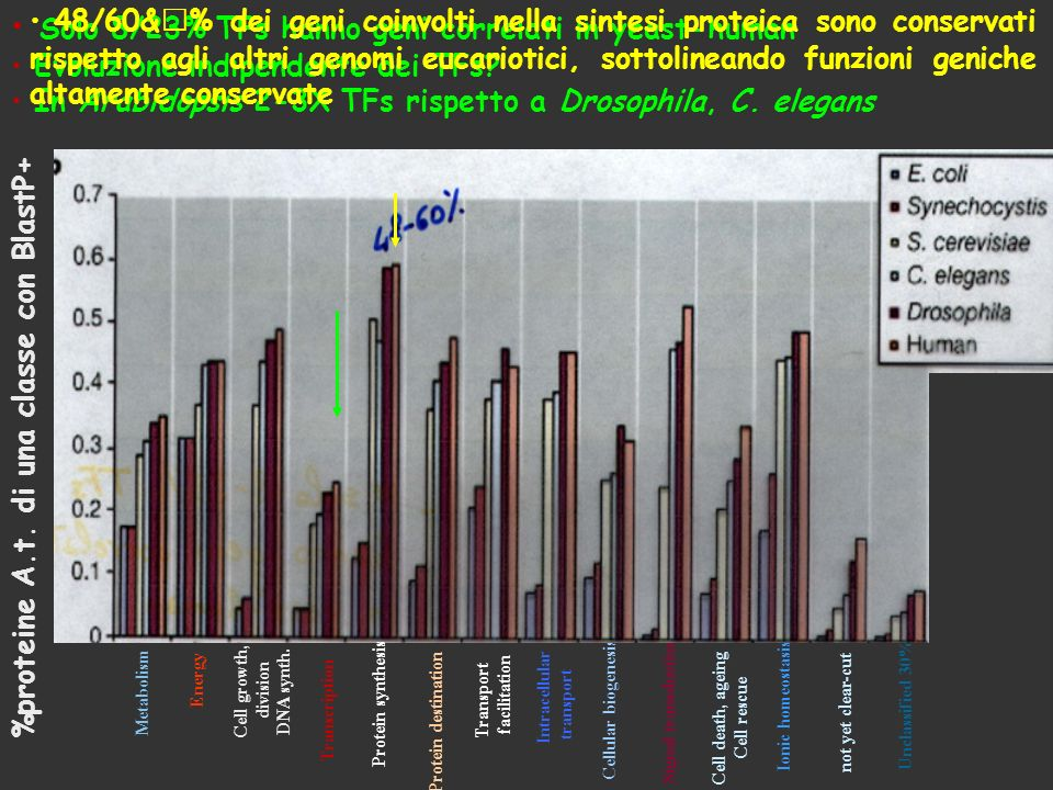 Solo 8/23% TFs hanno geni correlati in yeast-human