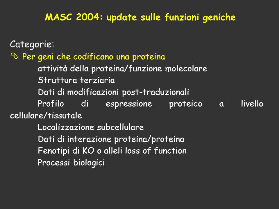 MASC 2004: update sulle funzioni geniche