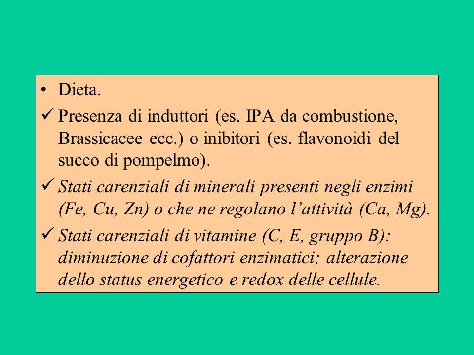 Dieta. Presenza di induttori (es. IPA da combustione, Brassicacee ecc.) o inibitori (es. flavonoidi del succo di pompelmo).