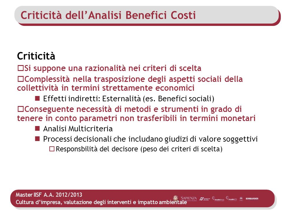 Criticità dell'Analisi Benefici Costi