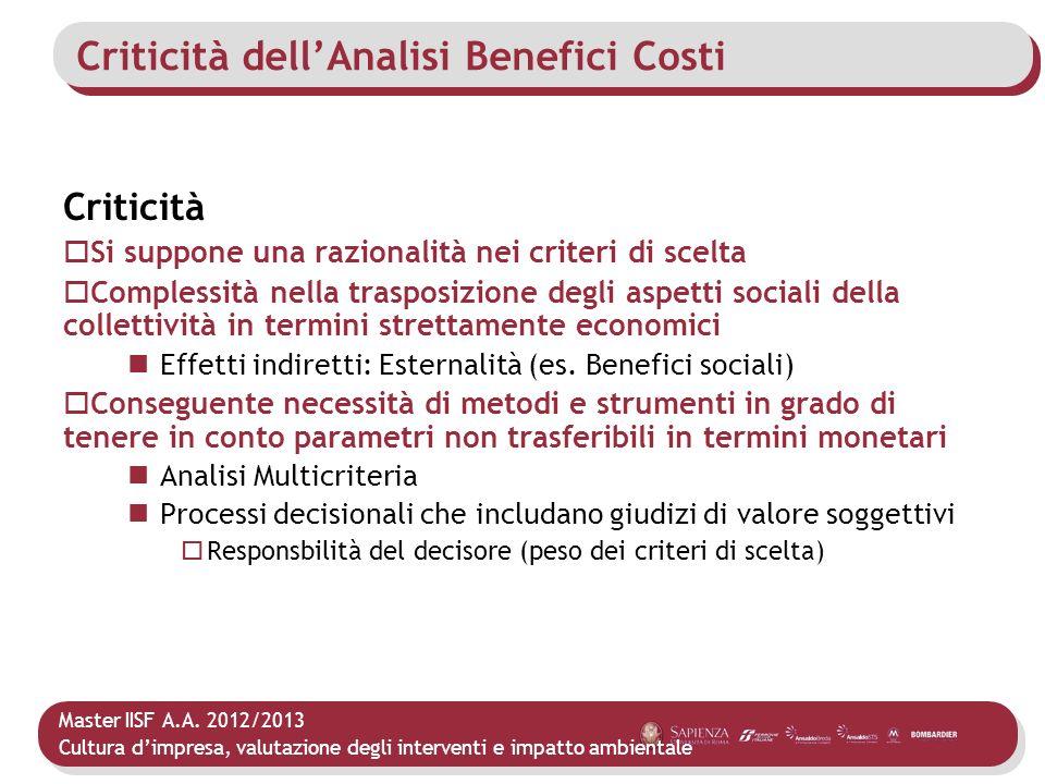 Criticità dell'Analisi Benefici Costi