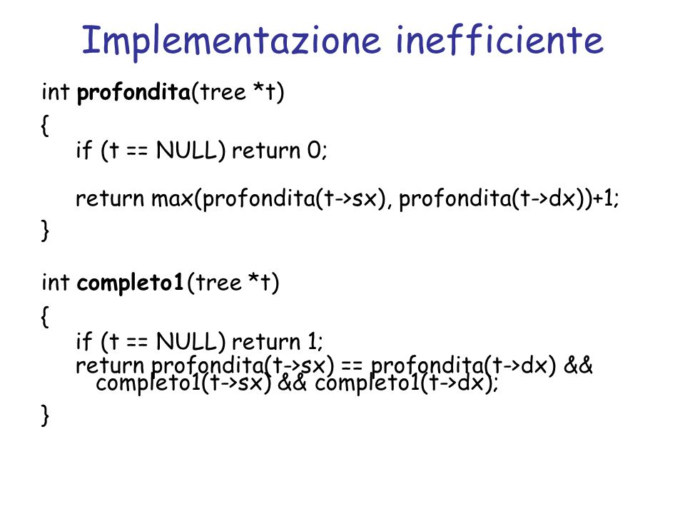 Implementazione inefficiente