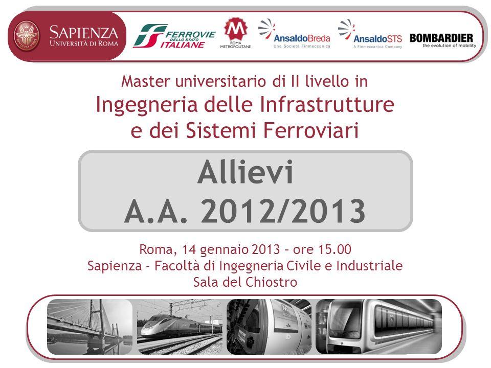 Master universitario di II livello in Ingegneria delle Infrastrutture e dei Sistemi Ferroviari