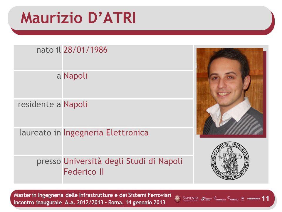 Maurizio D'ATRI nato il 28/01/1986 a Napoli residente a laureato in