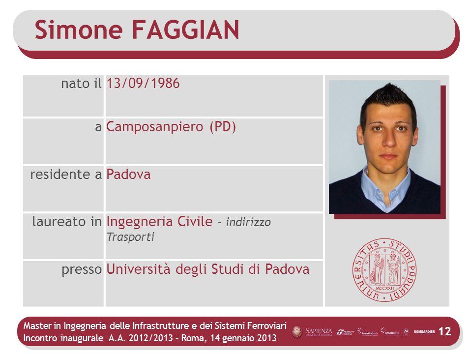 Simone FAGGIAN nato il 13/09/1986 a Camposanpiero (PD) residente a