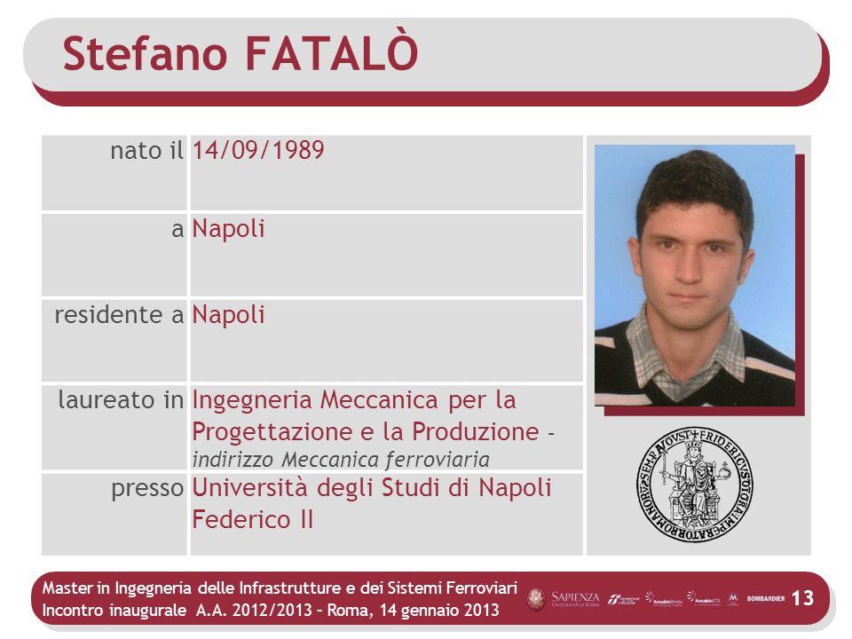 Stefano FATALÒ nato il 14/09/1989 a Napoli residente a laureato in