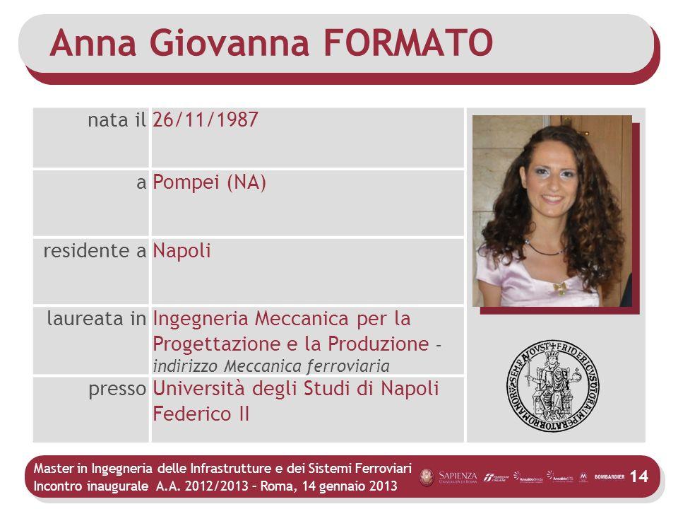 Anna Giovanna FORMATO nata il 26/11/1987 a Pompei (NA) residente a