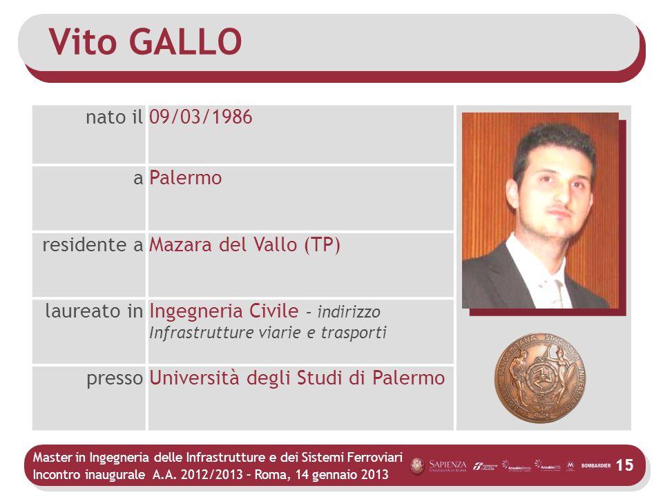 Vito GALLO nato il 09/03/1986 a Palermo residente a