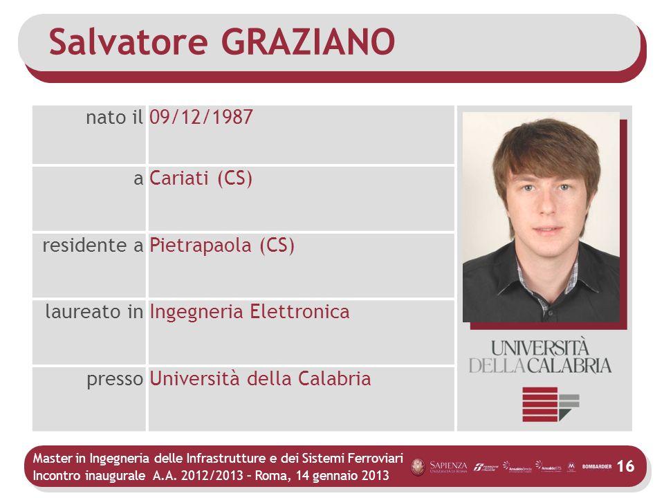 Salvatore GRAZIANO nato il 09/12/1987 a Cariati (CS) residente a
