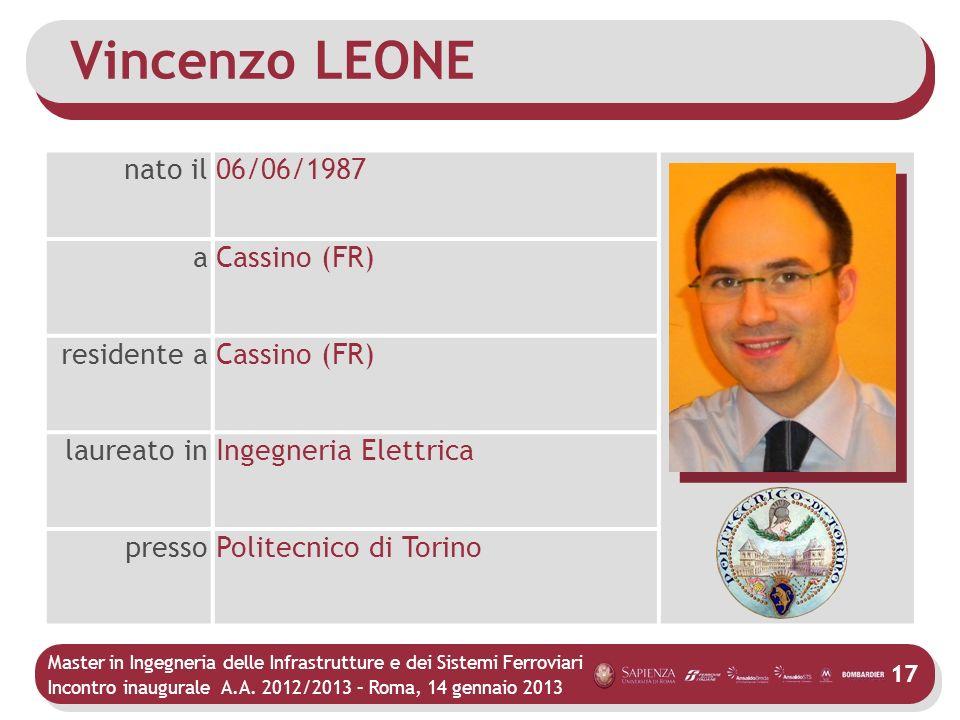 Vincenzo LEONE nato il 06/06/1987 a Cassino (FR) residente a