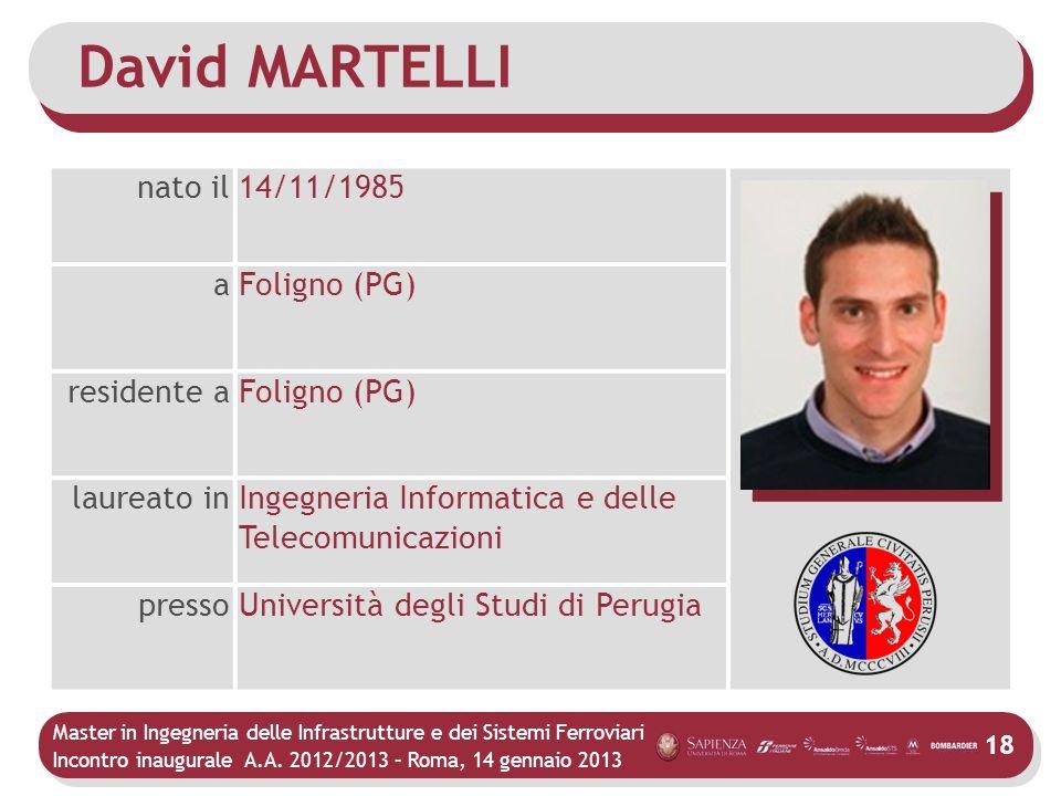 David MARTELLI nato il 14/11/1985 a Foligno (PG) residente a