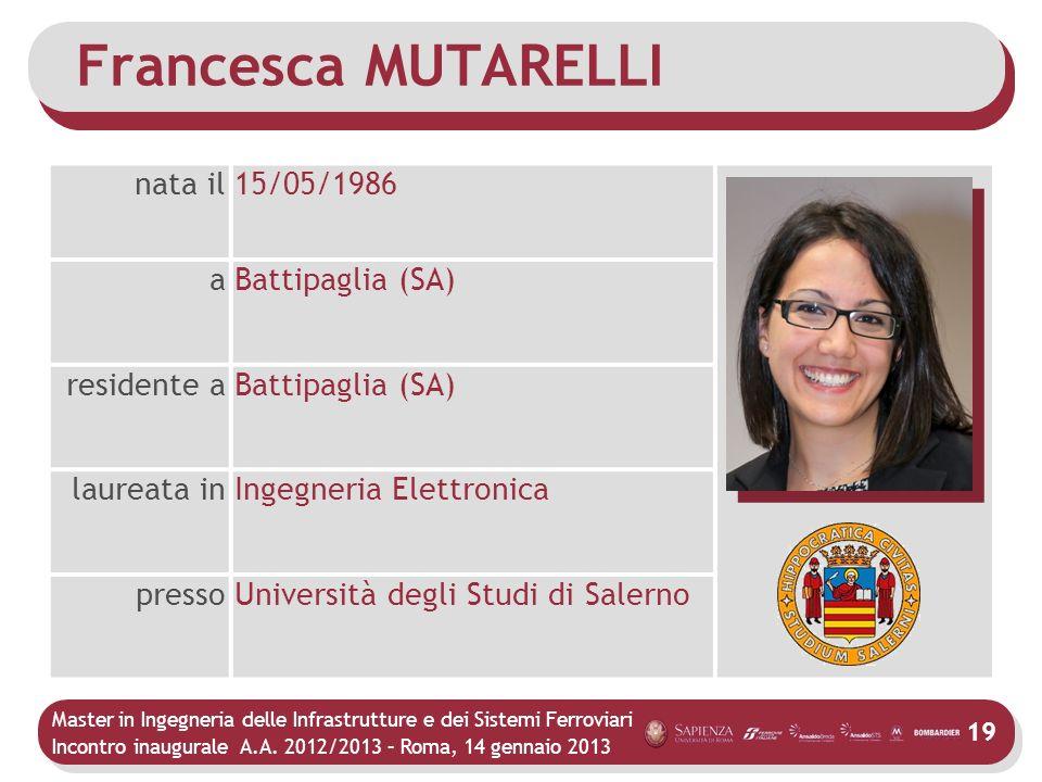 Francesca MUTARELLI nata il 15/05/1986 a Battipaglia (SA) residente a
