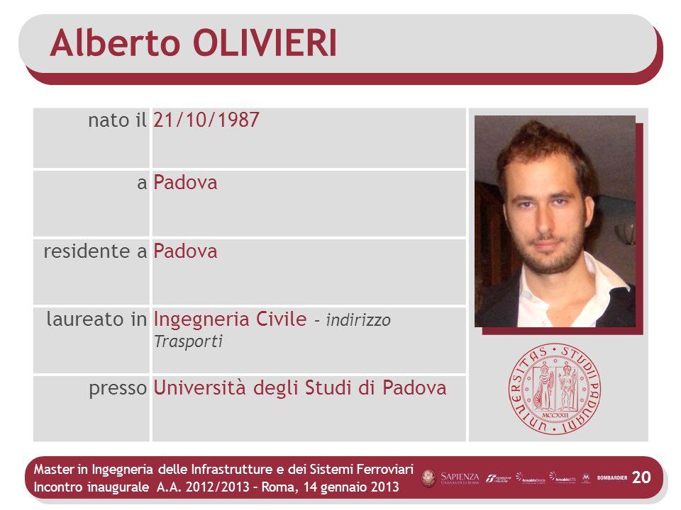Alberto OLIVIERI nato il 21/10/1987 a Padova residente a laureato in