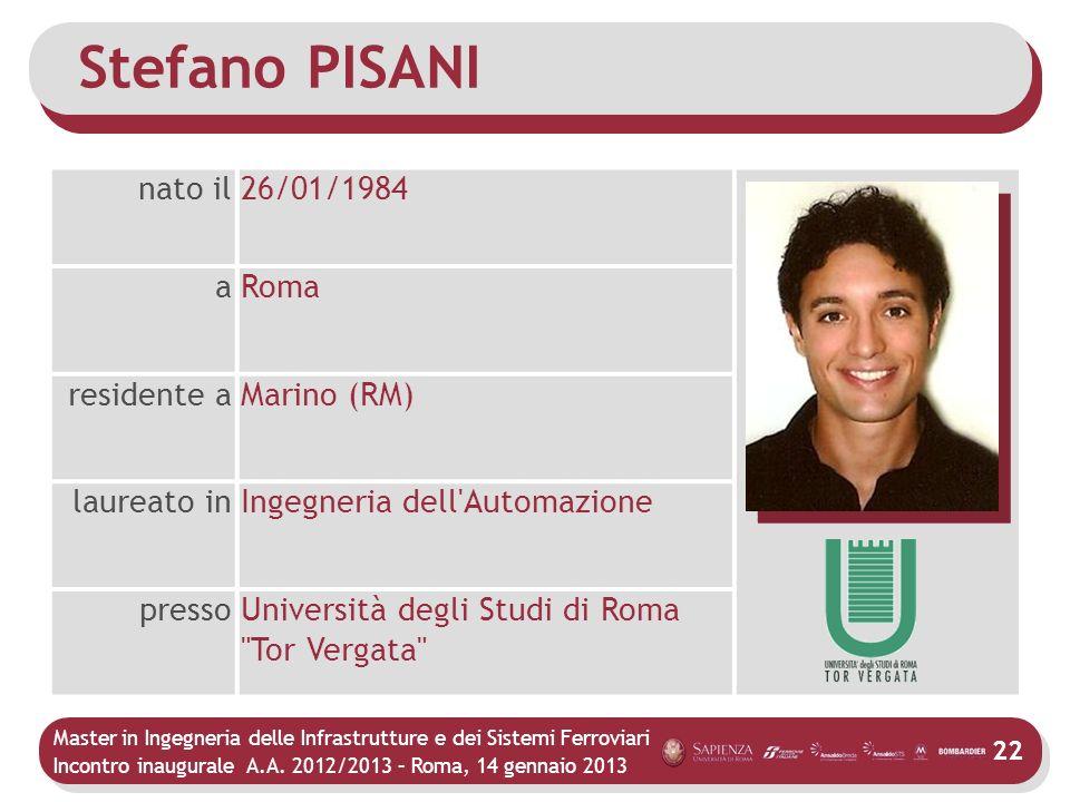 Stefano PISANI nato il 26/01/1984 a Roma residente a Marino (RM)